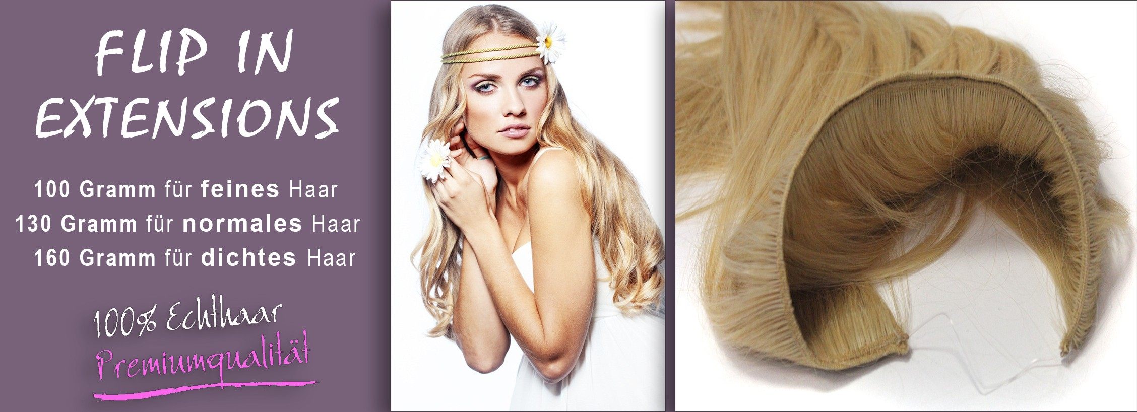 FLIP IN EXTENSIONS 100% ECHTHAAR