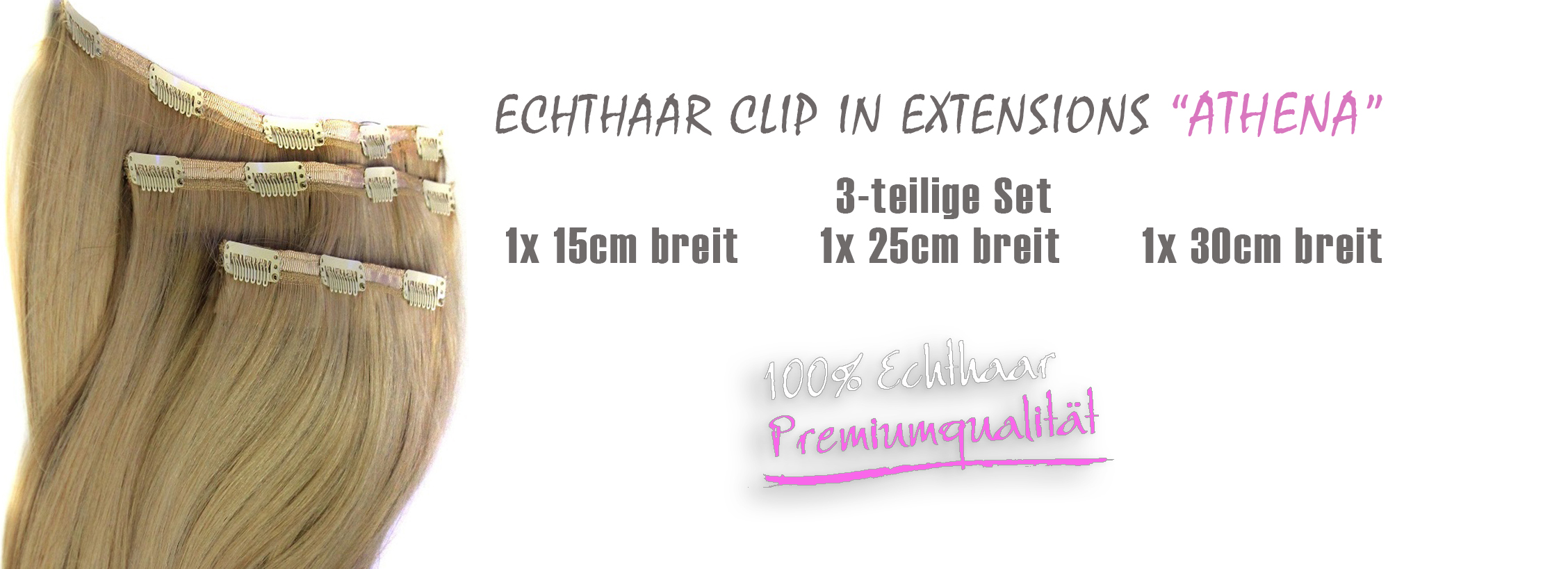 Echthaar Clip in Extensions Athena