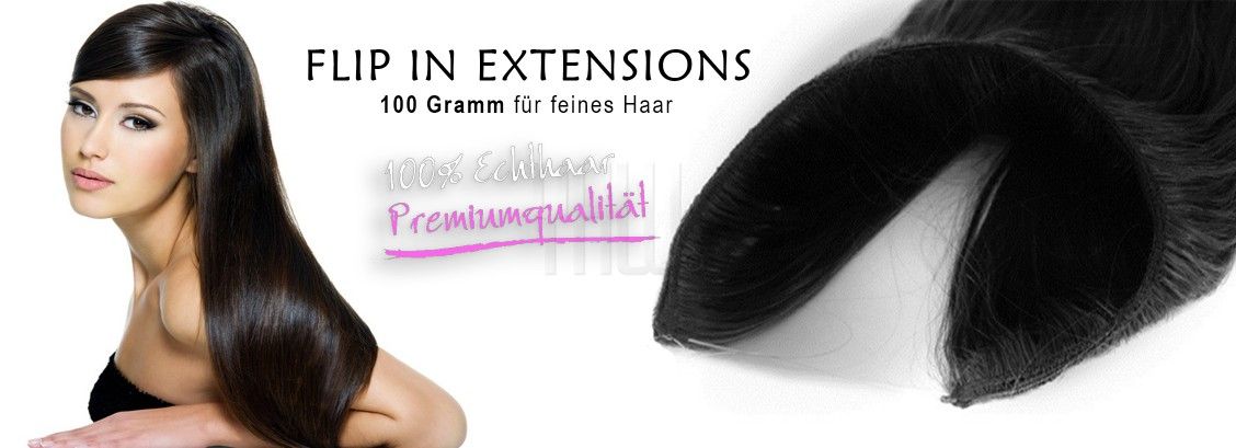 100 Gramm Echthaar Flip in Extensions